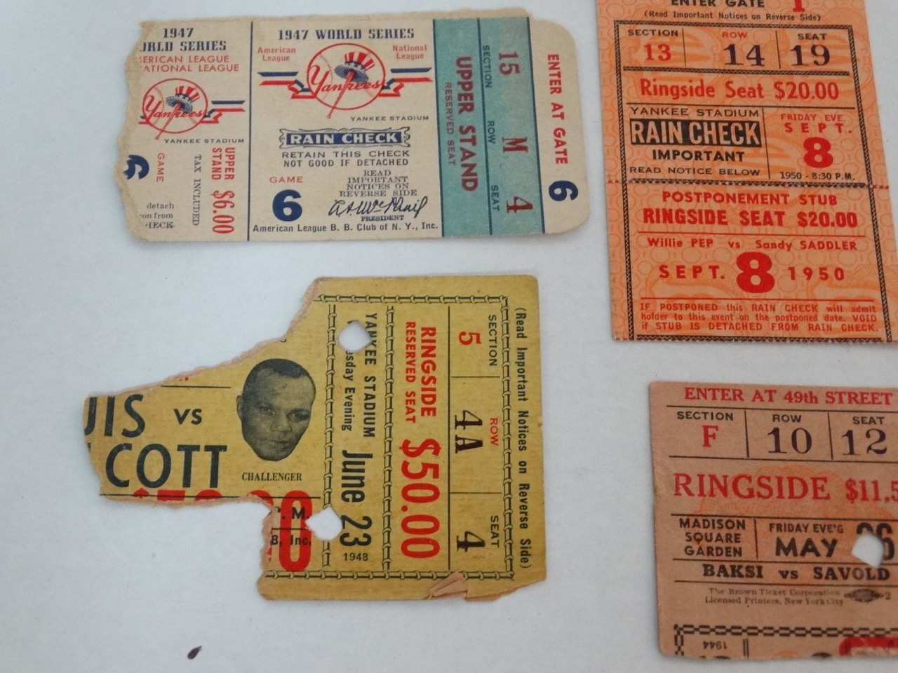 Old Boxing Tickets Wiring Diagrams Light Laser Led Gt Xenon Circuits Simple Strobe Circuit L12379 Lot Detail Collection Of From 1944 To 1950 And Rh Puregolfauctions Com 1920
