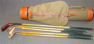 HAND MADE EARLY CLUBS FROM THE FEATHERY AND LONG NOSE ERA. MADE BY HERITAGE CLUB MAKERS AND BARRY KERR OF ST. ANDREWS WITH BAG