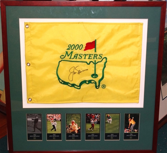 SIGNED JACK NICKLAUS 2000 MASTERS FLAG WITH 6 COLLECTIBLE CARDS OF HIS MASTERS WINS