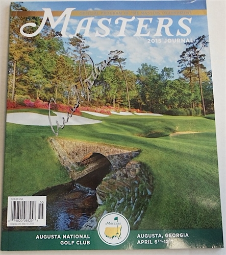 MASTERS 2015 JOURNAL SIGNED BY ARNOLD PALMER ON THE COVER WITH SILVER SHARPIE