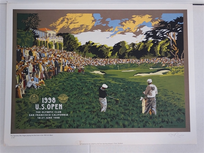 1998 US OPEN AT OLYMPIC CLUB - SIGNED & NUMBERED LITHOGRAPH BY KENNETH REED , VERY RARE