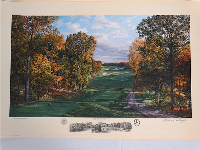 2002 US OPEN AT BETHPAGE STATE PARK 4TH HOLE LITHOGRAPH BY LINDA HARTOUGH, SIGNED & NUMBERED