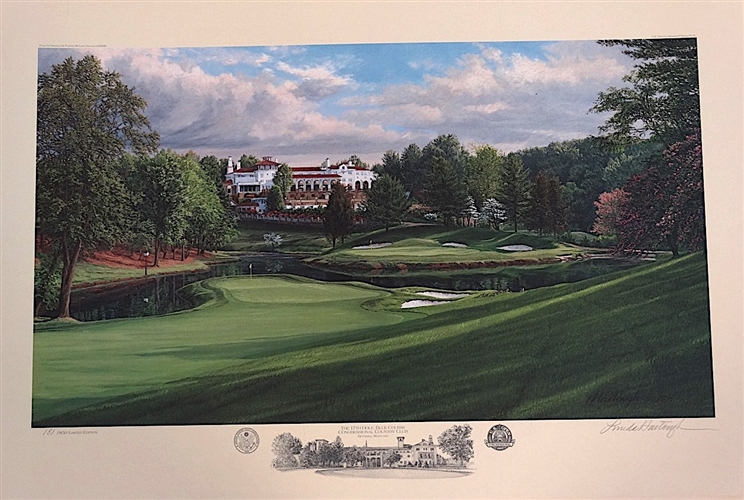 1997 US OPEN OFFICIAL LITHOGRAPH OF 17TH HOLE BLUE COURSE AT CONGRESSIONAL COUNTRY CLUB, SIGNED & NUMBERED