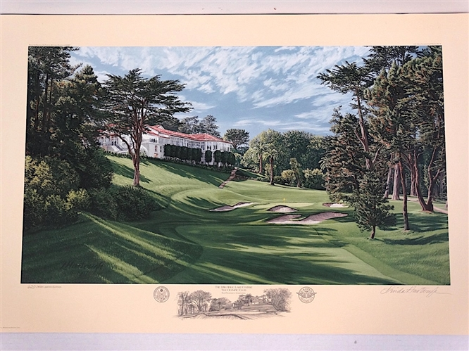 OFFICIAL US OPEN LITHOGRAPH OF 18TH HOLE, LAKE COURSE THE OLYMPIC CLUB, 1998 SIGNED & NUMBERED BY LINDA HARTOUGH
