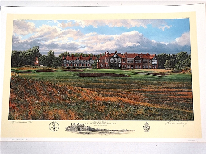 1996 OFFICIAL LITHOGRAPH OF US OPEN AT ROYAL LYTHAM & ST. ANNES GOLF CLUB BY LINDA HARTOUGH, ARTIST PROOF SIGNED & NUMBERED