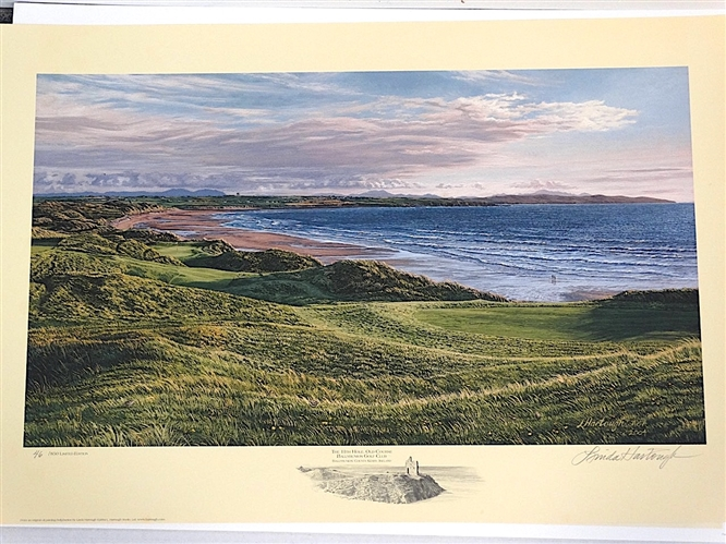 BALLYBUNION GOLF CLUB THE 11TH HOLE, OLD COURSE - LIMITED EDITION LITHOGRAPH BY LINDA HARTOUGH, SIGNED & NUMBERED