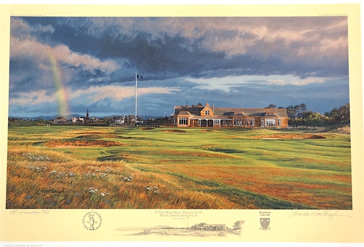 "ROYAL TROON GOLF CLUB THE 18TH HOLE LIMITED EDITION LITHOGRAPH BY LINDA HARTOUGH, ARTIST PROOF EDITION #59 OF 85, SIGNED. SIZE 15 "" x 27"""