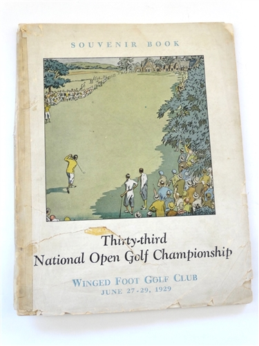 1929 ORIGINAL US OPEN PROGRAM PLAYED AT WINGED FOOT GOLF CLUB. WINNER BOBBY JONES IN A 36 HOLE PLAYOFF