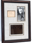 SIGNED WALTER HAGEN 1937 WITH PERIOD PHOTO, MUSEUM FRAMED WITH DESCRIPTIVE PLAQUE