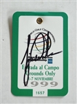 1999 SIGNED TIGER WOODS (WINNER) ENTRY TICKET FOR WORLD GOLF CHAMPIONSHIP PLAYED AT VALDERRAMA GOLF CLUB IN SPAIN