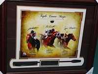 SIGNED BY THREE TRIPLE CROWN WINNERS AT KENTUCKY DERBY, PREAKNESS STAKES AND BELMONT STAKES