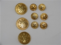 COLLECTION OF BLAZER BUTTONS FROM ROYAL & ANCIENT GOLF CLUB IN ST. ANDREWS, SCOTLAND