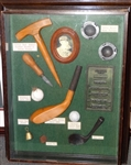 HISTORIC SHADOW BOX WITH TOOLS FOR MAKING FEATHERY GOLF BALL. GOLF MOULDS AND EARLY CLUBHEADS