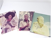3 SIGNED PHOTOGRAPHS BY ARNOLD PALMER, JACK NICKLAUS AND LEE TREVINO SIGNED TO ED CARTER (PGA TOURNAMENT DIRECTOR)