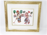 GOLFERS, LIMITED EDITION SIGNED LITHOGRAPH BY JOVAN OBICAN AN ARTIS OF FUNNY LITTLE PEOPLE, COLORFUL AND FULL OF SPIRIT