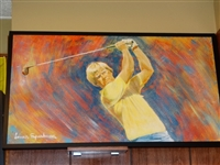 "THIS IS AN ORIGINAL OIL PAINTING OF JACK NICKLAUS BY ACCLAIMED ARTIST LAMAR SPARKMAN - 26"" X 44"""