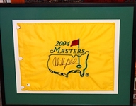 "PHIL MICKELSON SIGNED 2004 MASTERS FLAG -WINNER, SIZE 20"" X 25"""