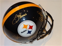 STEEL CURTAIN AUTHENTIC PROLINE G/S HELMET STEELERS SIGNED BY MEAN JOE GREENE, DWIGHT WHITE, ERNIE HOLMES AND LC GREENWOOD