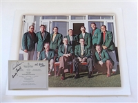 MASTERS 2008 CHAMPIONS DINNER MENU HOSTED BY ZACK JOHNSON, SIGNED BY ARNOLD PALMER, DOUG FORD AND BOB GOALBY