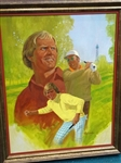 "ORIGINAL OIL PAINTING OF JACK NICKLAUS BY NICK LEASKOU - 18"" X 24""- FRAMED"