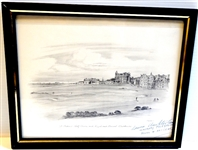ST. ANDREWS ORIGINAL SKETCH OF R & A AND OLD COURSE - SIGNED BY LAURIE AUCHTERLONIE