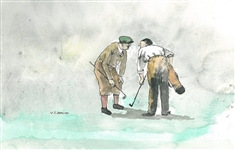 ORIGINAL WATERCOLOR BY V.S. ADDISON OF 2 EARLY GOLFERS IN COLOR DISCUSSING A RULES ISSUE