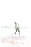 ORIGINAL WATERCOLOR BY V.S. ADDISON OF AN EARLY GOLFER SET TO DRIVE HIS BALL