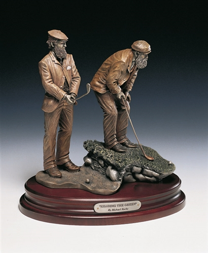 "OLD TOM MORRIS AND WILLIE PARK SR. SCULPTURE TITLED, ""READING THE GREEN"" BY MICHAEL ROCHE DIMENSIONS 11.5"" HIGH, BASE - 7"" X 11"""