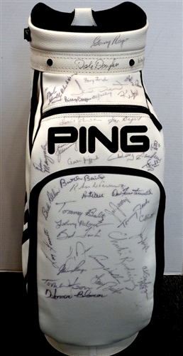 SIGNED AT THE MASTERS PING STAFF BAG FROM SAM SNEAD COLLECTION OVER 50 SIGNATURES