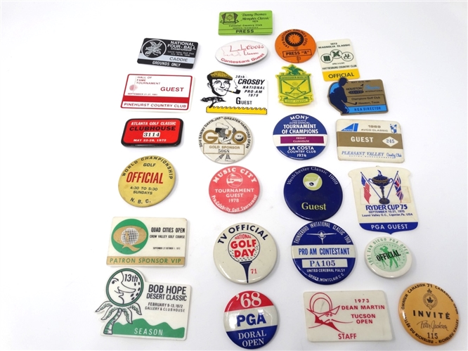 COLLECTION OF 25 BADGES OF DIFFERENT PGA EVENTS FROM PGA TOURNAMENT DIRECTOR- ED CARTERS COLLECTION