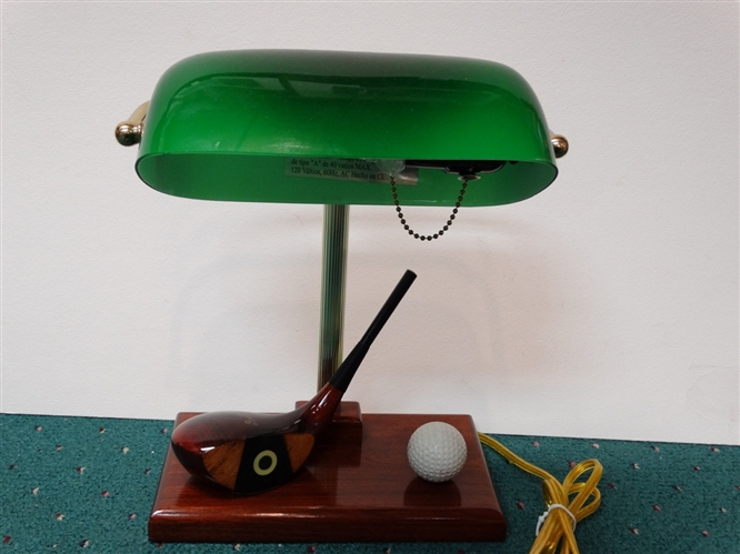 RARE ANTIQUE PINEHURST FANCY FACE GOLF CLUB BANKERS LAMP WITH BALL, CIRCA 1930S