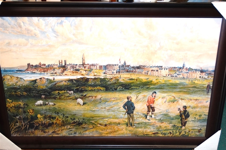 "CANVAS GICLEE - HISTORICAL SCOTTISH SCENE IN ST. ANDREWS - FRAMED SIZE 28.5"" X 44"""