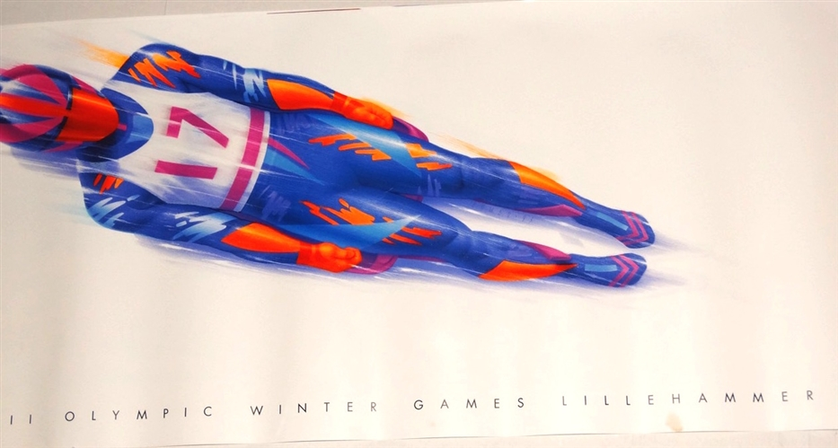 ORIGINAL POSTER  BY MATT ZUMBA FOR XVII OLYMPIC WINTER GAMES IN LILLEHAMMER OF SINGLE LUGE