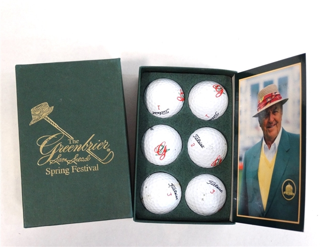 SIGNED  SCORE CARD BY SAM SNEAD, PAUL SUMMERS SET OF TITLEIST GOLF BALLS -1959