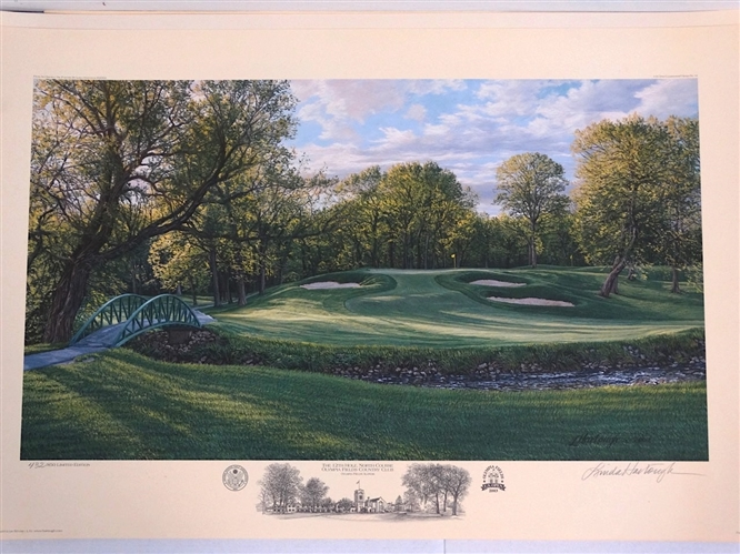 2002 US OPEN OFFICIAL LITHOGRAPH BY LINDA HARTOUGH OF OLYMPIA FIELDS CC, THE 12 HOLE NORTH COURSE, SIGNED & NUMBERED