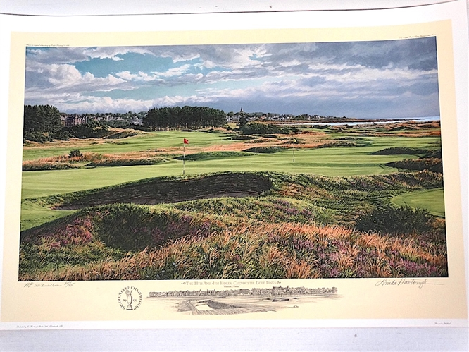 1999 US OPEN OFFICIAL LITHOGRAPH OF THE 14TH AND 4TH HOLES, CARNOUSTIE GOLF LINKS BY LINDA HARTOUGH, SIGNED & NUMBERED