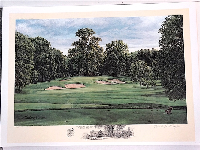 WINGED FOOT GOLF CLUB THE 10TH HOLE WEST COURSE, 1992 LIMITED EDITION LITHOGRAPH BY LINDA HARTOUGH