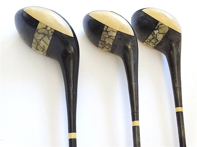 "MACGREGOR ""MASTER-30"" SET OF WOODS WITH MOTHER OF PEARL, ONE OF THE FIRST SETS OF COMPOSITE CLUBS"