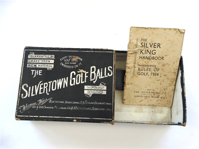 THE ORIGINAL SILVERTOWN GOLF BALL BOX WITH THE SILVER KING HANDBOOK RULES OF GOLF 1934