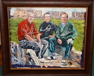 "SIGNED BY ARNOLD PALMER, GARY PLAYER AND JACK NICKLAUS- LMD. EDITION CANVAS GICLEE. SIZE 25""X29"""