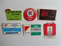 6 VARIOUS TOURNAMENT MEDIA BADGES FROM AL BARKOW (JOURNALIST) COLLECTION