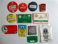 COLLECTION OF 11 PRESS BADGES FROM VARIOUS GOLF TOURNAMENTS