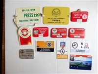 COLLECTION OF 12 MEDIA/ PRESS BADGES FROM VARIOUS U.S. OPENS
