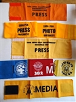 8 MEDIA AND PRESS ARM BADGES FROM VARIOUS GOLF TOURNAMENTS, PGA AND USGA