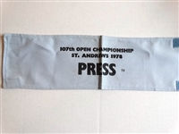 """PRESS"" ARM BADGE FROM 107TH OPEN CHAMPIONSHIP, ST. ANDREWS 1978"