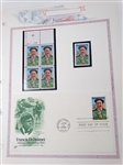 FRANCIS D. OUIMET FIRST DAY OF ISSUE ENVELOPE WITH COLLECTION OF UNCIRCULATED STAMPS DATED 1988, MINT CONDITION