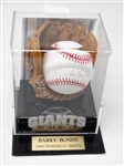 BARRY BONDS SIGNED BASEBALL WITH STEINER SPORTS CERTIFICATE OF AUTHENTICITY IN A GREAT DISPLAY