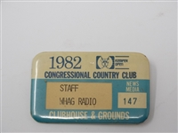 STAFF BADGE FOR WHAG RADIO FROM 1982 KEMPER OPEN HELD IN CONGRESSIONAL COUNTRY CLUB