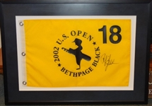 "PHIL MICKELSON SIGNED FLAG FROM 2002 US OPEN AT BETHPAGE - FRAMED SIZE 20"" X 25"" WITH COA"