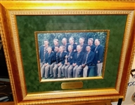 SIGNED BY TIGER WOODS AND PAYNE STEWART TEAM PHOTO FROM 1999 RYDER CUP - FRAMED